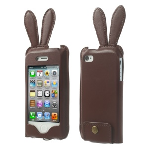 Hamee Usamimi for iPhone 4s 4 Rabbit Ear PU Leather Case Pouch - Brown