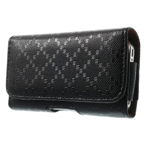 Rhombus Pattern Leather Carrying Case with Belt Clip and Belt Loop for iPhone 4s 4 3GS 3G - Black