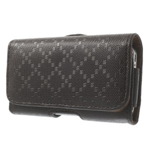 Rhombus Pattern Leather Carrying Cover Shell with Belt Clip and Belt Loop for iPhone 4s 4 3GS 3G - Coffee