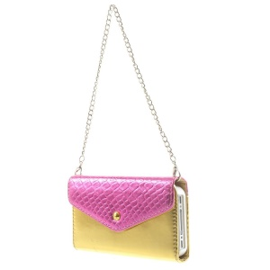 Magnetic Adsorption Detachable Leather Wallet Case w/ Iron Handy Chain for iPhone 4s 4 - Rose