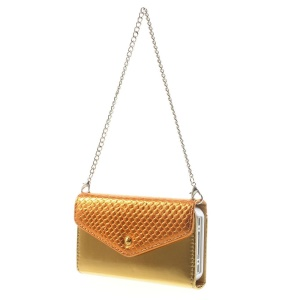Magnetic Adsorption Detachable Leather Wallet Cover w/ Iron Handy Chain for iPhone 4s 4 - Orange