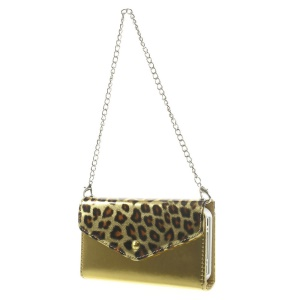 Magnetic Adsorption Detachable Leather Wallet Case Shell w/ Iron Handy Chain for iPhone 4s 4 - Leopard Pattern