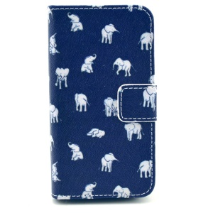 Cartoon Elephants Magnetic Wallet Leather Stand Case for iPhone 4s 4
