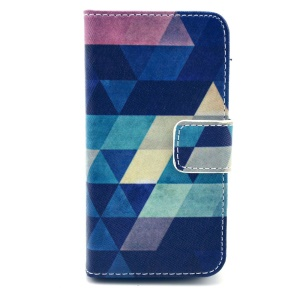 Colorful Triangles Wallet Stand Leather Protective Case for iPhone 4s 4