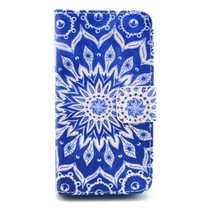 Tribal Flower Wallet Card Slots Stand Leather Skin Case for iPhone 4s 4