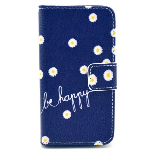Quote Be Happy & Flowers Folio Stand Leather Wallet Case for iPhone 4s 4