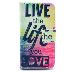 Live the Life You Love Wallet Leather Shell for iPhone 4s 4 w/ Stand