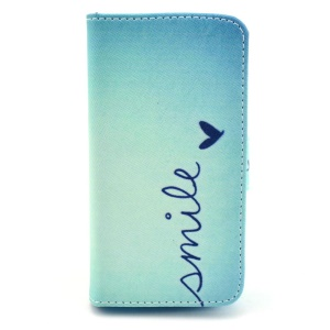 Smile & Heart for iPhone 4s 4 Wallet Leather Phone Case w/ Stand