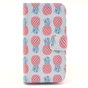 Multiple Pineapples White Background for iPhone 4s 4 Wallet Leather Case w/ Stand