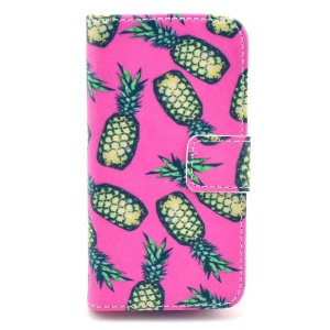 Green Pineapples Rose Background Wallet Stand Leather Cover for iPhone 4s 4