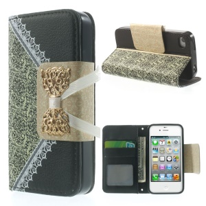 Bowknot Magnetic Lace Pattern Leather Stand Case for iPhone 4s 4 - Black