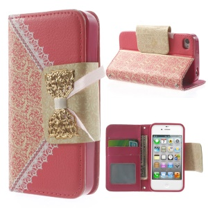 Bowknot Magnetic Lace Pattern Leather Stand Case for iPhone 4s 4 - Rose