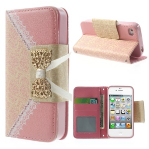 Bowknot Magnetic Lace Pattern Leather Wallet Case w/ Stand for iPhone 4s 4 - Pink