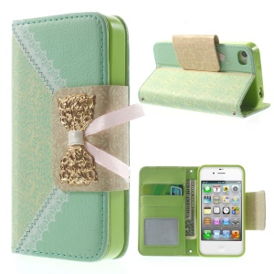 Bowknot Magnetic Lace Pattern Leather Wallet Cover w/ Stand for iPhone 4s 4 - Cyan