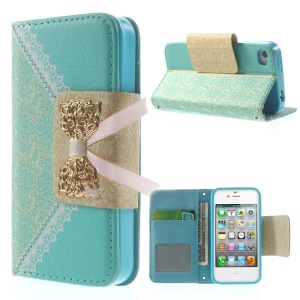 Bowknot Magnetic Lace Pattern Leather Card Holder Case w/ Stand for iPhone 4s 4 - Blue