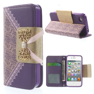 Bowknot Magnetic Lace Pattern Leather Card Holder Cover w/ Stand for iPhone 4s 4 - Purple