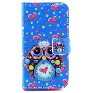 Cute Owl & Sweet Hearts Leather Stand Case w/ Card Slots for iPhone 4s 4