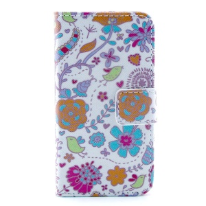 Colorized Flowers Leather Magnetic Case w/ Stand for iPhone 4s 4