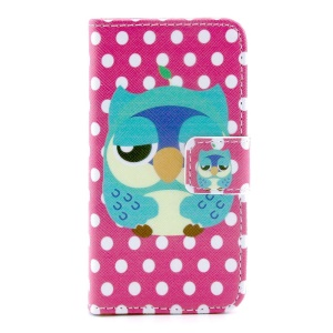 Adorable Owl & Polka Dots Leather Magnetic Cover w/ Stand for iPhone 4s 4