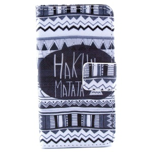 Hakuna Matata Geometric Pattern Stand Leather Magnetic Case for iPhone 4s 4