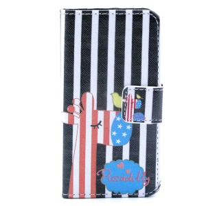 Giraffe & Stripes Stand Leather Magnetic Cover for iPhone 4s 4