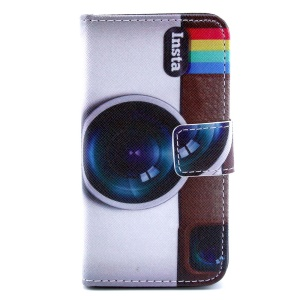 Camera Lens Leather Card Holder Case w/ Stand for iPhone 4s 4