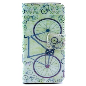 Multiple Bicycles Leather Card Holder Cover w/ Stand for iPhone 4s 4