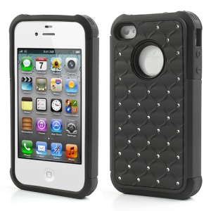 Rhinestone Starry Sky Plastic & Silicone Hybrid Case for iPhone 4 4S - Black
