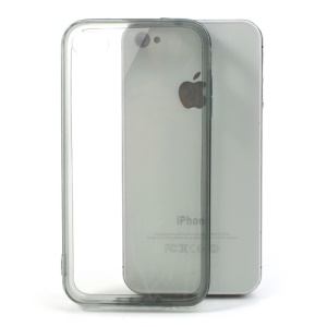 Grey Soft TPU Edges & Crystal Plastic Back Cover for iPhone 4 4S