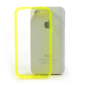 Yellow for iPhone 4 4S Soft TPU Edges & Crystal PC Back Skin Case