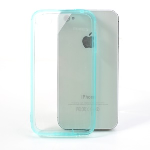 Baby Blue TPU Edges & Crystal Hard Skin Case for iPhone 4 4S