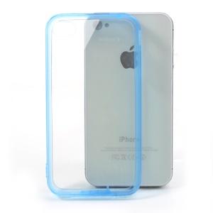 Dark Blue TPU Edges & Crystal Hard Plastic Case for iPhone 4 4S