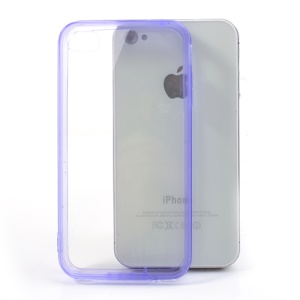 Purple TPU Edges & Crystal Plastic Back Cover for iPhone 4 4S