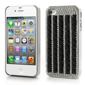 Deluxe Sparkling Diamond & Crystal Plated Hard Case for iPhone 4S 4 - Black