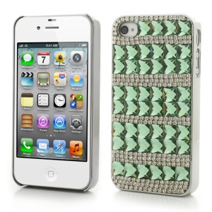 Deluxe for iPhone 4S 4 Sparkling Diamond & Crystal Plated Hard Cover - Green