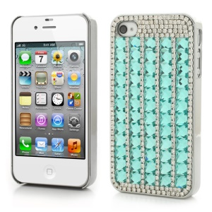 Sparkling Diamond & Crystal for iPhone 4S 4 Plating Hard Back Case - Blue
