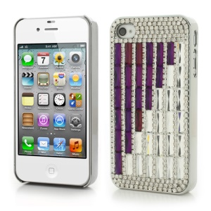 Sparkling Diamond & Crystal Plating PC Hard Case for iPhone 4S 4 - Purple / White