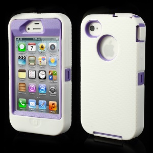 For iPhone 4s 4 Snap-on Defender Case + LCD Film + Data Charger Cable + Package Bag - Purple / White