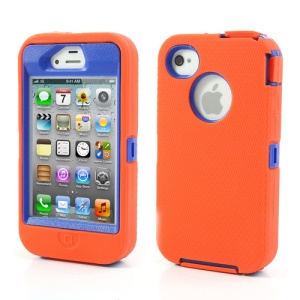 For iPhone 4s 4 Snap-on Defender Case + LCD Film + Data Charger Cable + Package Bag - Blue / Orange