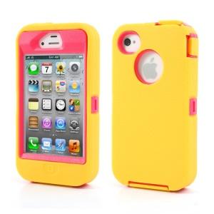 For iPhone 4s 4 Snap-on Defender Cover + LCD Film + Data Charger Cable + Package Bag - Red / Yellow