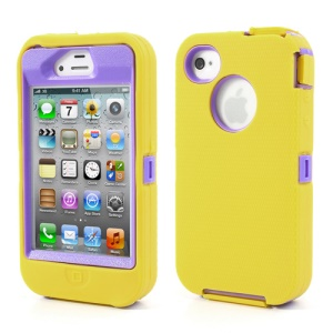 For iPhone 4s 4 Snap-on Defender Cover + LCD Film + Data Charger Cable + Package Bag - Purple / Yellow