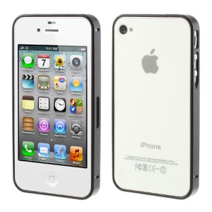Black Buckle Closure Slim Metal Bumper Case for iPhone 4 4s