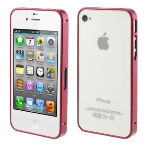 Red Buckle Closure Slim Metal Bumper Case for iPhone 4 4s