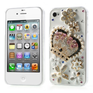 3D Crown & Flower Pearl Diamond Inlaid Hard Case for iPhone 4s 4