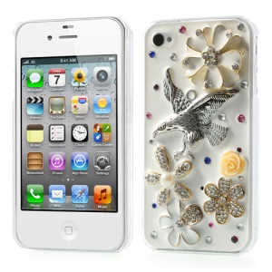 3D Blossom & Eagle Sparkling Diamante Hard Case for iPhone 4s 4