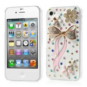 Elegant Pink Bowknot Bling Bling Rhinestone Hard Cover for iPhone 4s 4