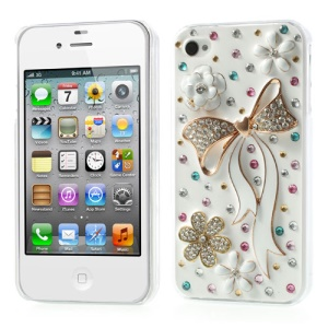 3D Flower & White Bowknot Shiny Rhinestone Hard Cover for iPhone 4s 4