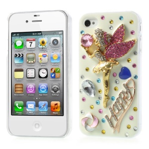 Luxury Colorful Diamante 3D Angel Design Hard Shell for iPhone 4s 4
