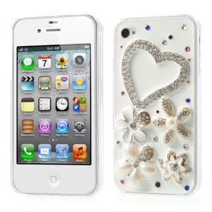 Beautiful Heart Flowers Diamante Hard Shell for iPhone 4s 4