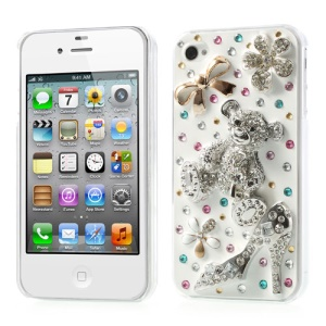 Lovely 3D Bear Rhinestone Luxurious Hard Case for iPhone 4s 4